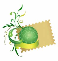 postage stamp and globe vector image