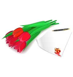 Red tulips and love letter on a white background vector image vector image