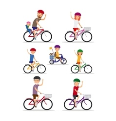 Sports family Mom Dad and kids ride bikes vector image