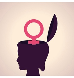thinking concept-Human head with female symbol vector image vector image