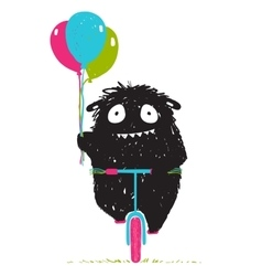 Black Little Monster Afraid of Riding Bicycle vector image vector image