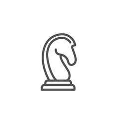 Chess knight line icon marketing strategy vector