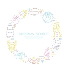 Colorful Christmas holidays circle frame with vector image vector image
