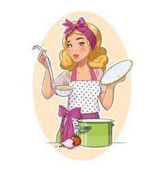 Housewife girl cooking food vector image vector image