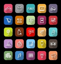 Media marketing line icons with long shadow vector image