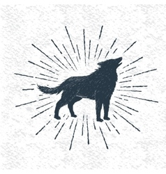 Sign of howling wolf vector