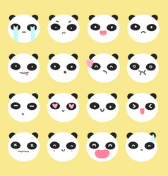 cute panda emoji vector image vector image
