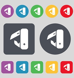 knife picnic icon sign A set of 12 colored buttons vector image vector image