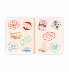 passport with visa stamps open passport pages vector image