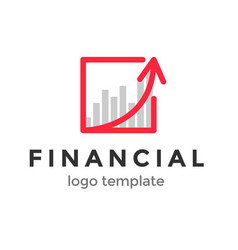 red line and arror financial logo design template vector image vector image