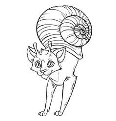 snail funny cartoon cat vector image