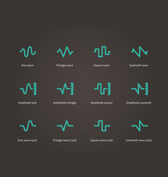 voice sound and music compression types icons set vector image