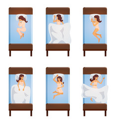 woman sleeping poses top view vector image