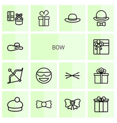 14 bow icons vector image