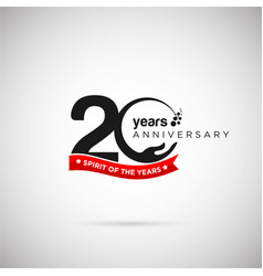 20 years anniversary logo with ribbon and hand vector image