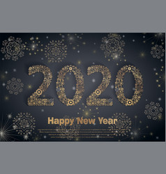 2020 happy new year holiday banner with sparkling vector