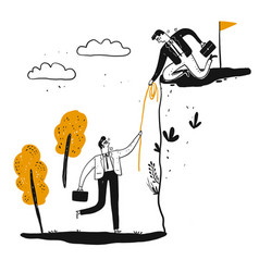 a male business man is helping man to climb vector image