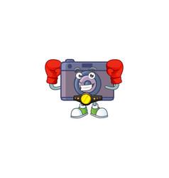 A sporty boxing retro camera cartoon character vector