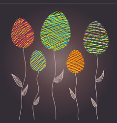 abstract easter eggs as a flower plants vector image