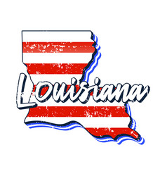 American flag in louisiana state map grunge style vector