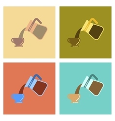 Assembly flat icons cup coffee maker vector