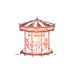 attraction carousel fun entertainment vector image