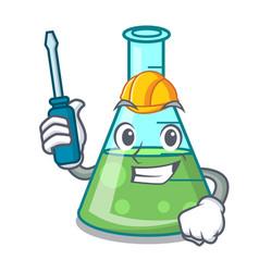 Automotive science beaker mascot cartoon vector