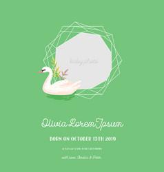 Baannouncement with swan invitation card vector