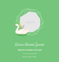 baby announcement with swan invitation card vector image