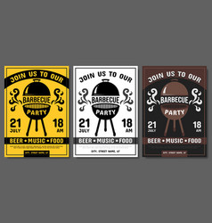 Banners for modern barbecue party vector