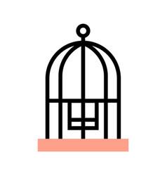 Bird cage flatoutline vector