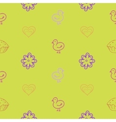 Bird Easter flower seamless background vector