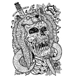Black and white art with scary skull beast coat vector