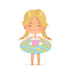 Blond hair girl stay in inflatable circle child vector