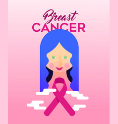 breast cancer awareness design of girl with ribbon vector image