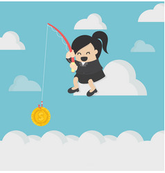business concept cartoon business woman fishing vector image
