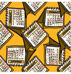 calendar doodle february pattern 2020-2021 hand vector image