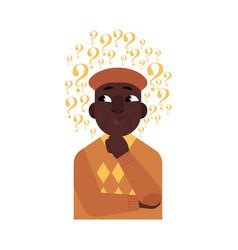 cartoon adult african black man thinking vector image