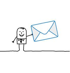 Cartoon businessman with big mail envelop vector