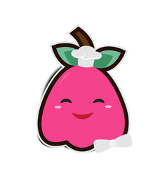 cartoon rose apple chef with paper shadow vector image