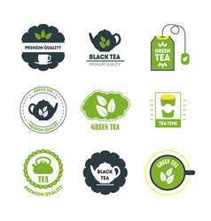 cartoon tea badges or labels set vector image