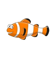 Cartoon tropical clown fish character vector
