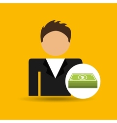 Character man bill money stack icon vector