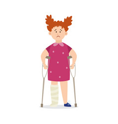 Child girl with injury leaning on crutches flat vector