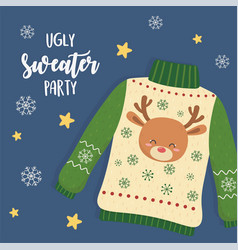 Christmas ugly sweater party with deer head vector