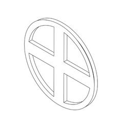 Circular window isometric 3d icon vector image