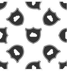 cloud and shield icon isolated seamless pattern on vector image
