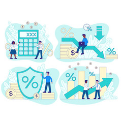 Credit concept with financial and business scenes vector