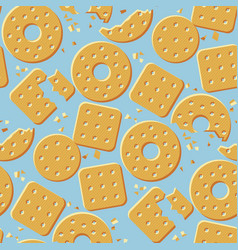 Crunchy crackers cartoon seamless pattern vector