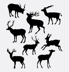 Deer animal activity silhouette vector